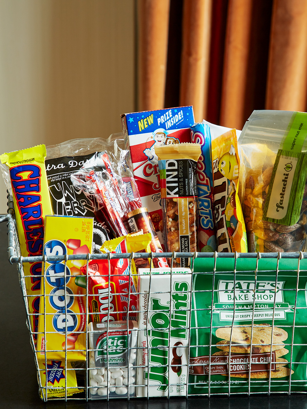 View of the complimentary snack basket