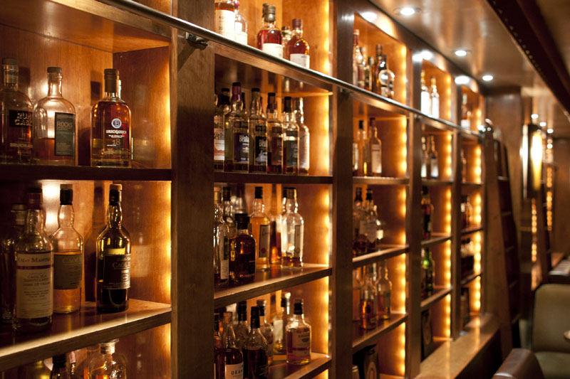 Brandy Library's wall of spirits