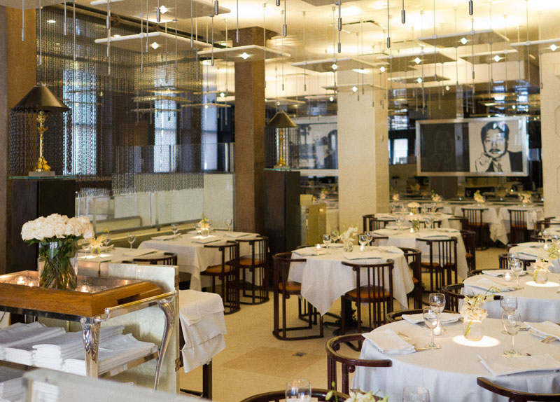 A wide angle of the dining room at Mr Chow before service
