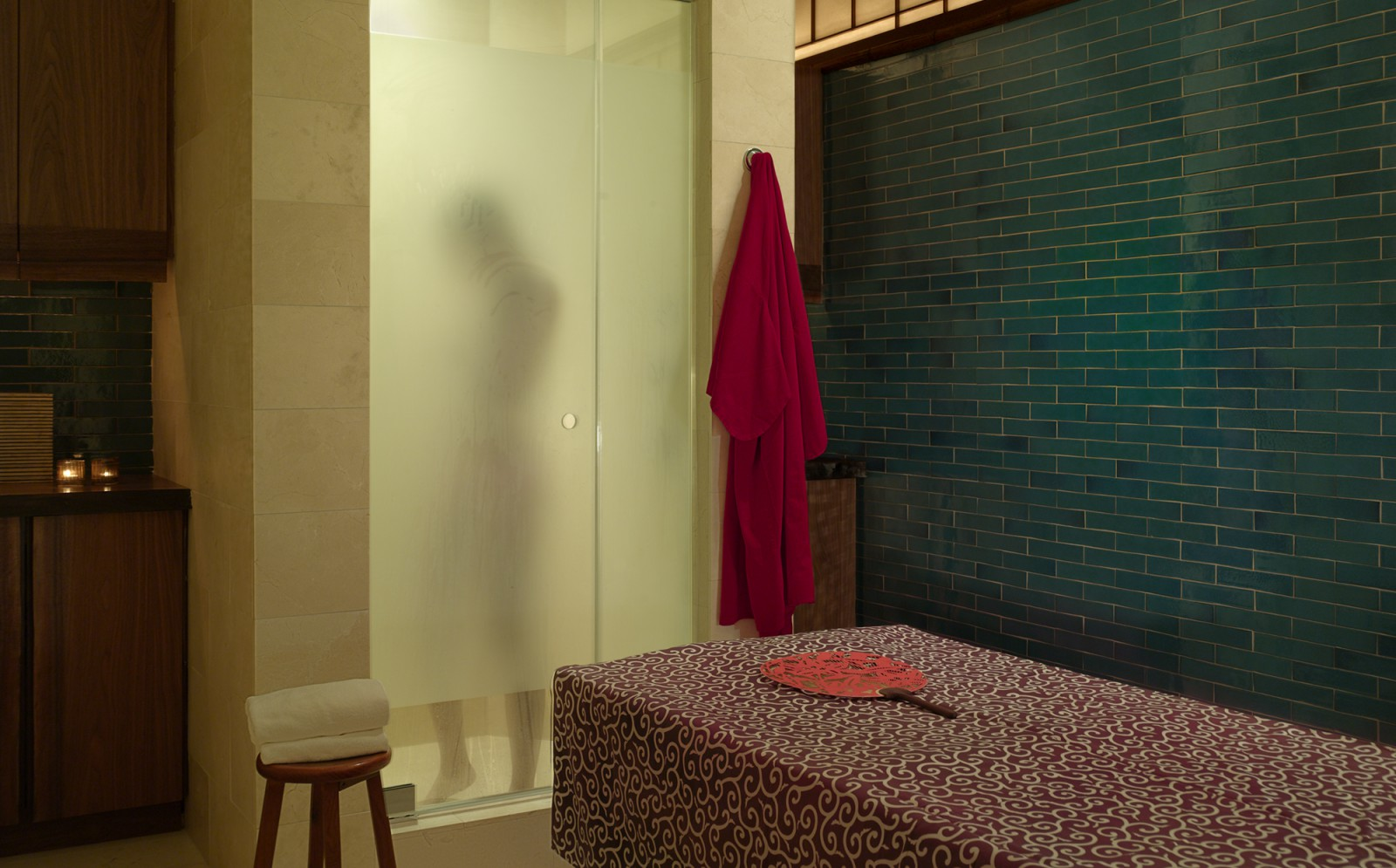 Private showers at the Greenwich Hotel's Shibui Spa